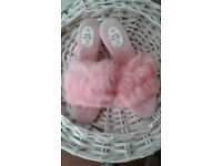 Pink fluffy luxury slippers