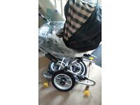 Silver Cross Pram/ Pushchair With Matching Car Seat And Accessories Pink Blossom Design