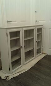 Solid pine painted wall or top display cabinet.