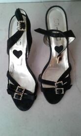 Black Velvet Strap Shoes with white stone embellished golden buckles