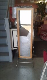 WROUGHT IRON AND OAK CHEVAL MIRROR LOVELY £52.00