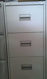 Three Drawer Locking Steel Cabinet and Stationery