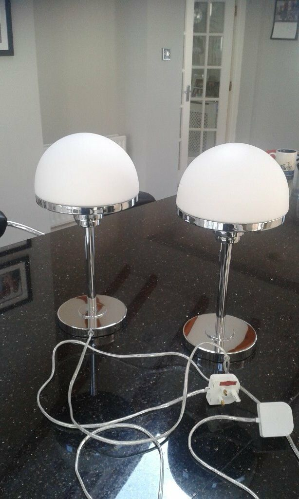 Half Moon Marks Spencer Chrome Glass Table Lamps In Royston