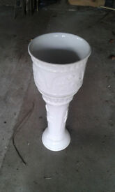 White embossed china large plant pot and stand (separate)