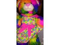 Rainbow build a bear Teddy with dress