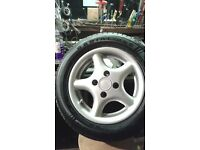 """13"""" ALLOY WHEELS AND 175/60/13 LOW PROFILE TYRES and spare 175/70/13 tyres"""