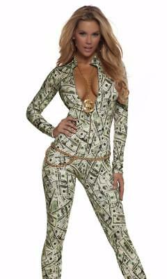 Money Print Long Sleeve Catsuit Body Suit Zip Front Mock Neck Costume 113503