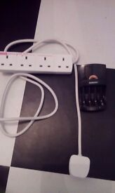 Duracell Battery charger (charges AA & AAA rechargable batteries) & 4 gang extension lead