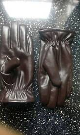 Leather gloves dark brown