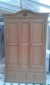 Old style double door pine wardrobe with 2 drawers under