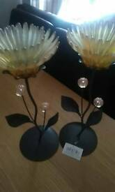 Two flower candle holders