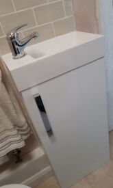 White Compact Vanity Unit - 400 mm - with tap and waste included