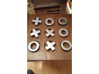 wooden base noughts and crosses with aluminium pieces, great fun