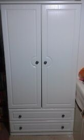 White double door wardrobe with two drawers