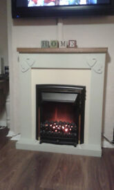 electric fire with shabby chic painted surround