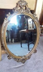 vintage gilt frame mirror / large picture frame