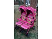 I Safe Pink Double Pushchair