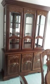 Cabinet for Display in home, solid wood and glass, glass shelving, amazing condition