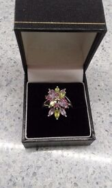 Ladies' Silver Gemstone Ring, Size Q, Amethyst, Peridot