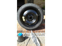 Toyota Yaris space saver spare tyre, fittings and tools