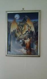 Glazed and framed dragon jigsaw picture