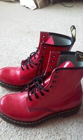 Size 7 red ladies/ girls airwair boots with bouncing soles