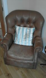 Real leather two seater settee one armchair and one abbots chair