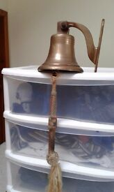 Brass ships bell used for public house last orders original rope toggle and brass fixing