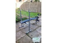 Benchpress + leg press, 1 x large bar, 2 x dumbell bars, lots of weights. Collection & Cash only.