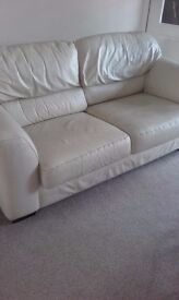 2 seater leather sofa in cream ivory