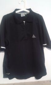 Large La Coq Sportif Black Polo Top Nylon