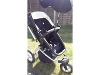 Mothercare MY3 Buggy, 3 wheels, suitable from birth, lie flat as carry cot, up to 4yrs, footmuff
