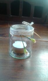 Set of 18 Handmade Glass Jars with Handpainted Candles Wedding Parties