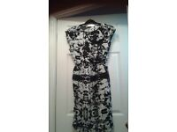 River Island Black and White Patterned Dress - Size 12