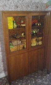 vintage german cupboard with tainted glass and original keys 1950s