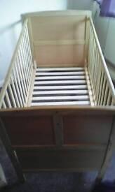 Pine wooden baby cot
