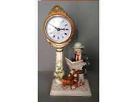 resin clown mantel clock figure