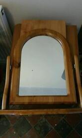 Pine wooden mirror