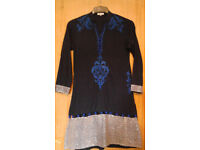 Saiqa Majeed London Navy Blue Mandarin Collar Ornate Kurti Tunic Top.Size Small.