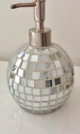 Mirrored chunky round mosaic soap dispenser bathroom kitchen cloakroom chrome trim