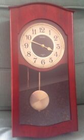 Seiko Quartz Pendulum Wooden Cased Chiming Wall Clock