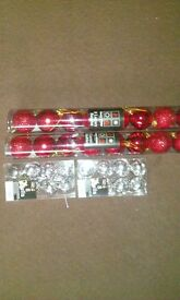 4 packs of red and silver xmas decorations