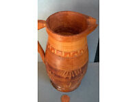 vintage carved wooden jug