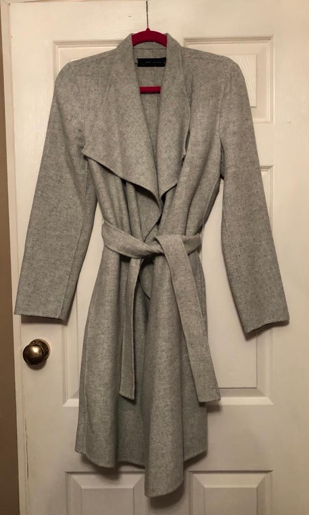 c7f78ca2cde1 Zara Wool Handmade Waterfall Grey Jacket Coat