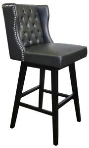 Restaurant Quality Black Swivel Leather Bar Stool w/Brushed Silver Nailhead