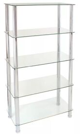 5-tier glass shelving unit with chrome legs