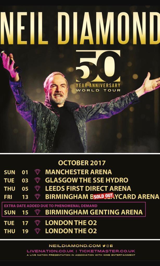 Neil Diamond Tickets X 3 London