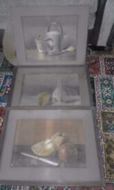 3 x original still life watercolours initialled and dated 1894/95
