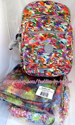 New w Tag Kipling Seoul Large Printed Backpack  with laptop