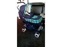 Mamas & papas Roma two way buggy/pushchair & rain cover, navy checks.nearly new